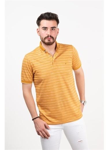 Deri Effect Deri Effect Hardal Örgü Desenli Slim Fit Polo Yaka T-Shirt Kiremit
